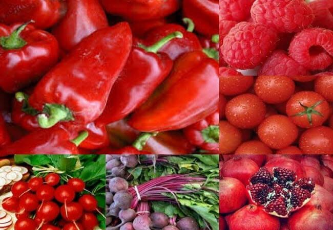 червоні овочі та фрукти