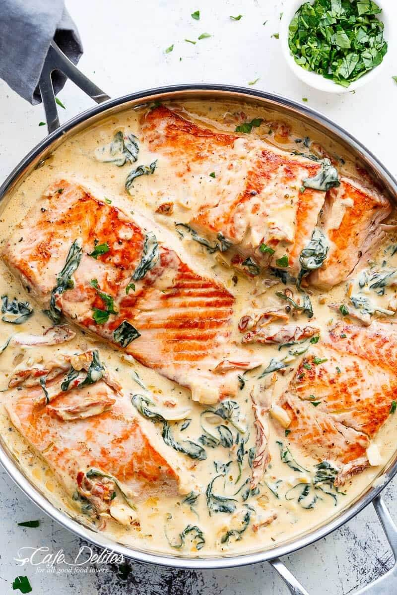 dish with salmon