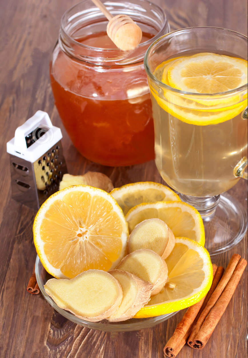 lemon, water honey