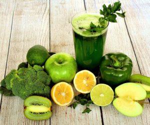 Зелені овочі та фрукти
